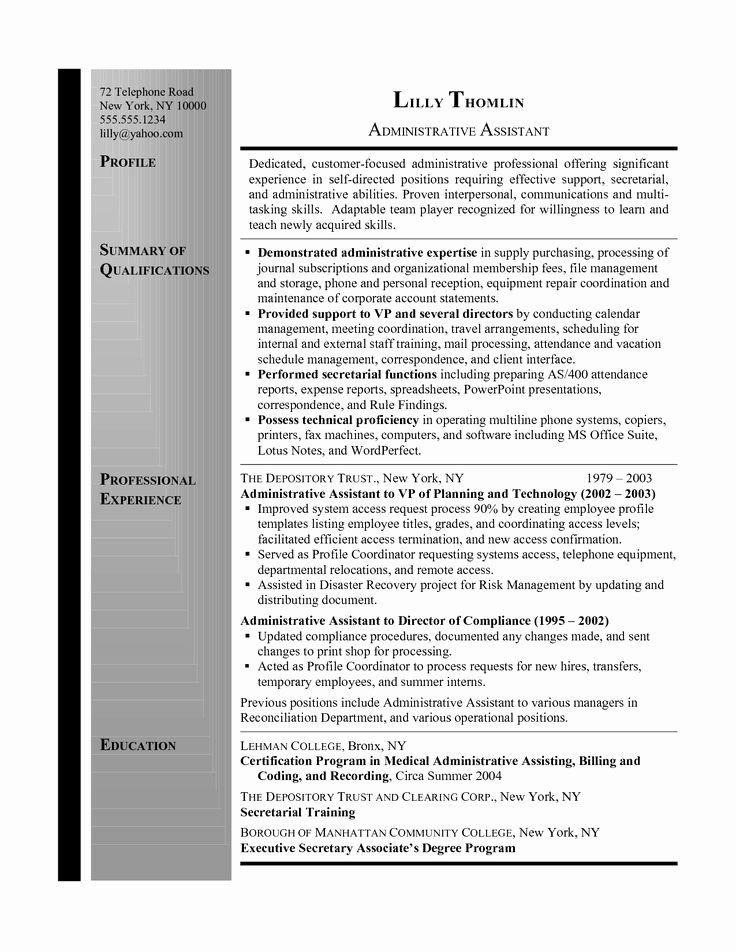 Administrative assistant Resume Summary New Resume Summary