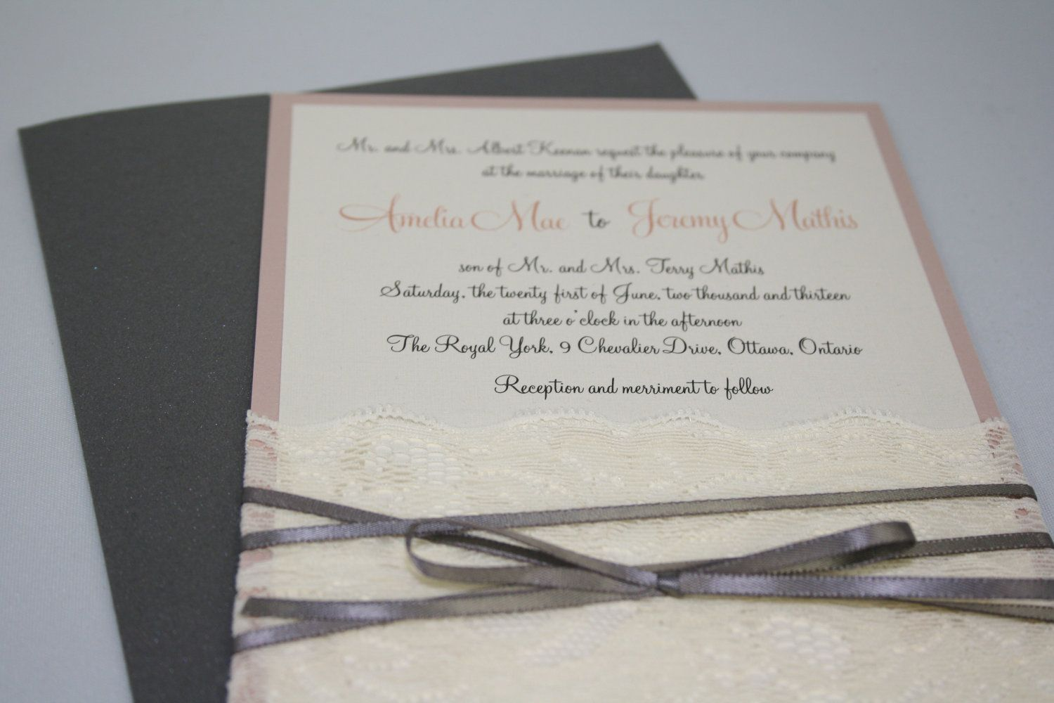 Vintage lace and ribbon Wedding Invitation Sample by paperstudioca, $6.90
