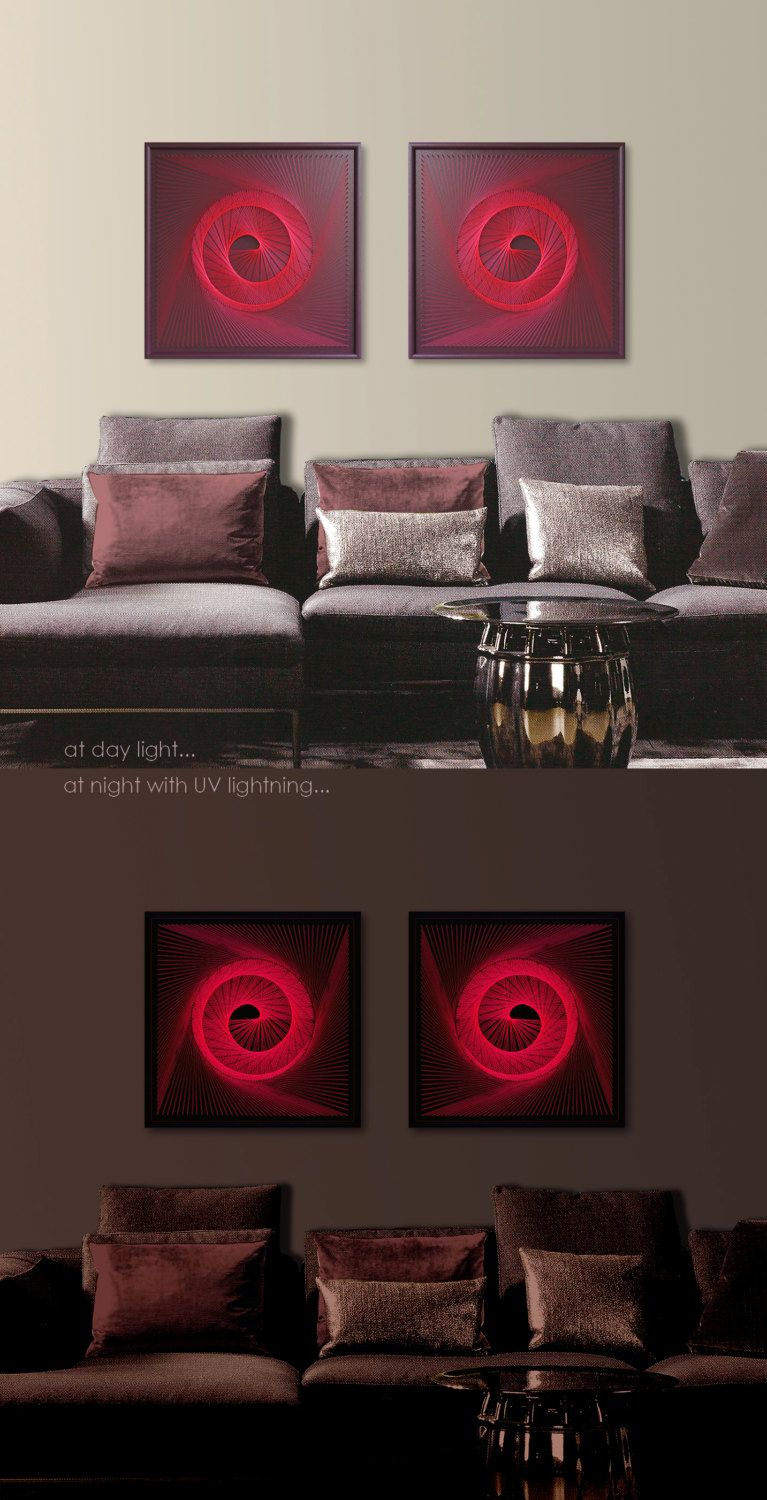 UV Wall Art Set in Red - Burgundy Abstract Spiritual Zen Wall Decor 3D Modern String Art Sacred Geometry for Home Office a special Gift - pinned by ... & UV Wall Art Set in Red - Burgundy Abstract Spiritual Zen Wall Decor ...