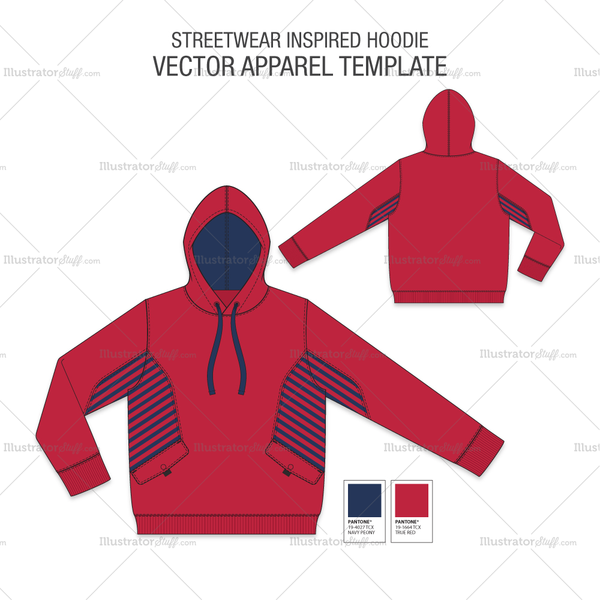 A Detailed Fashion Flat Vector Template Of Men S Streetwear Inspired Hoodie In 3 Different Colours This Hoodie Tem Hoodie Template Hoodie Vector Fashion Flats