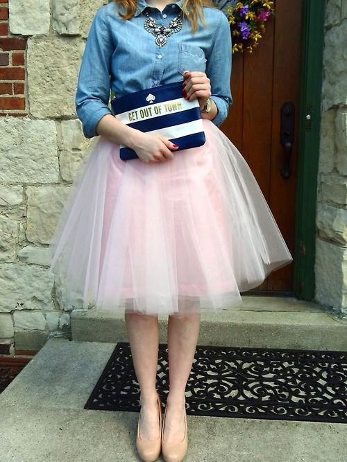 e140458d790 Kate Spade Clutch + Tulle Skirt + Denim Shirt