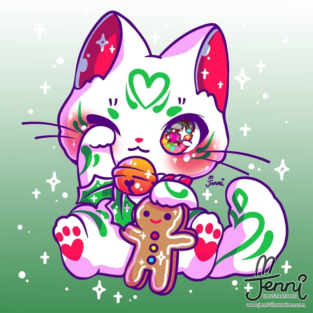J E N N I On Instagram Christmas Style Luckycat Sometimes I Donno What Cute Animal Drawings Kawaii Cute Kawaii Drawings Cute Cat Drawing