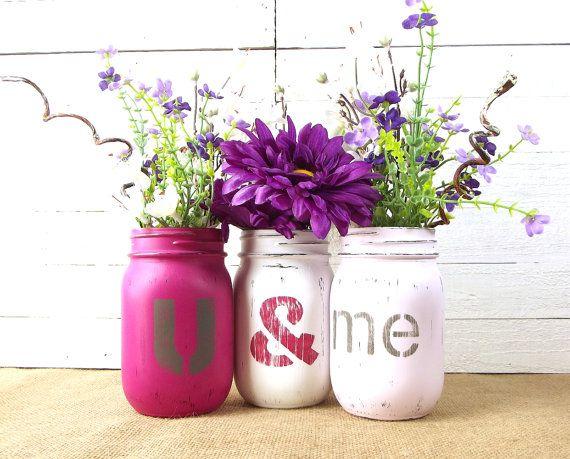 Mason Jar Centerpiece Valentines Day Decor by curiouscarrie