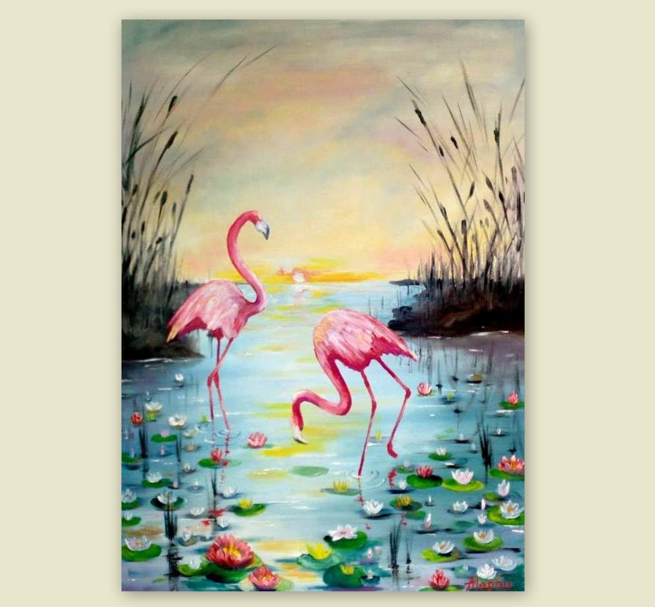 Pink Flamingo Original Oil Painting Colorful Canvas Wall Etsy Original Oil Painting Etsy Wall Art Peacock Painting