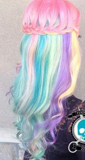 Pink Multi Pastel Rainbow Hair Sunshine Coast Www