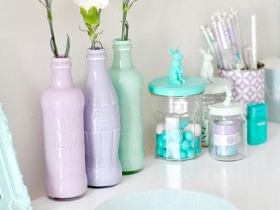 Glass Bottles For Decoration Pastel Coke Bottles  Decor  Pinterest  Bottle Diys And Glass