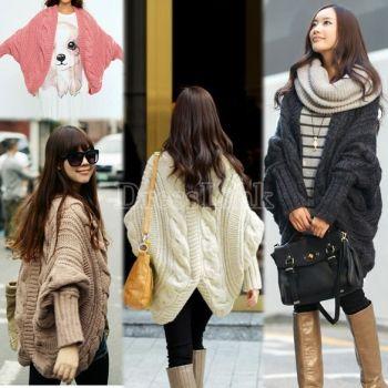 Women's Bat-Wing Long Sleeve Loose Sweater Cardigan Outerwear