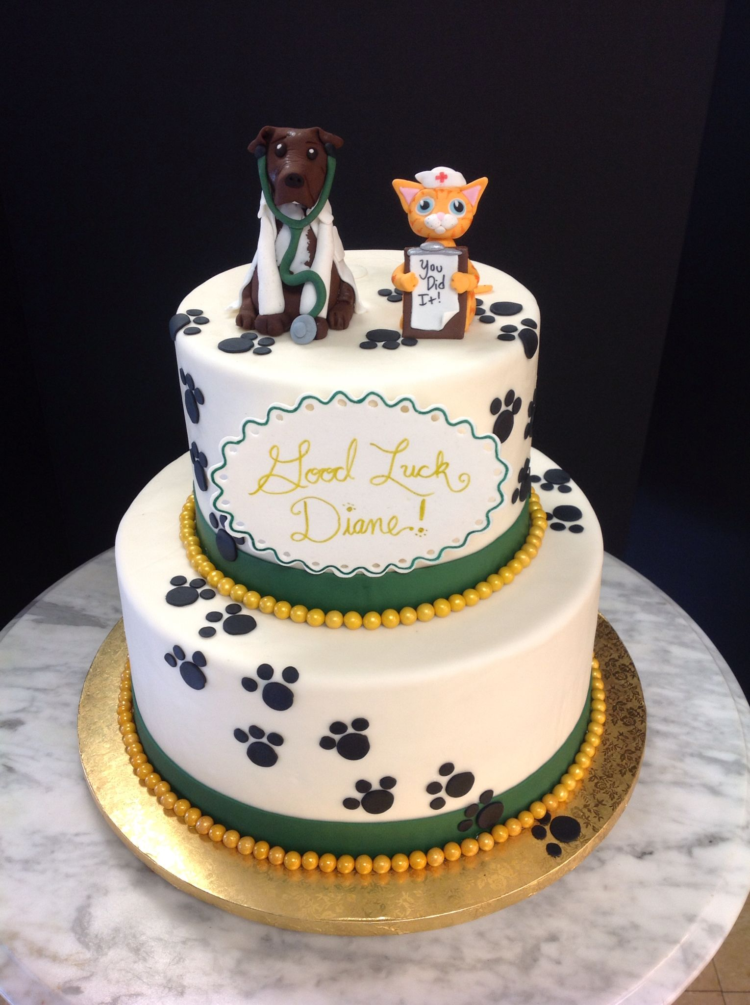 Veterinary cat and dog cake with paw prints! Bolos de