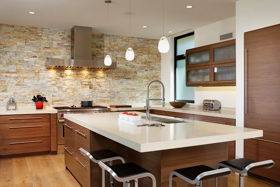 Smart Contemporary Kitchen With Lovely Lighting And Stone Accent Wall From By Design Dave Adams Photography