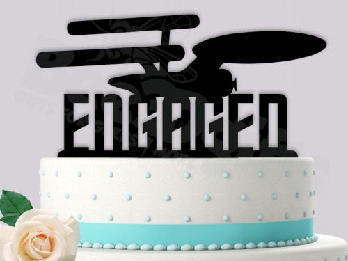 Starship Enterprise Engaged Star Trek Inspired Event Wedding Cake Topper