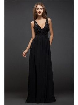 Sheath Column V-neck Sleeveless Beading Lace Floor-Length Chiffon Dresses c1533c2f6