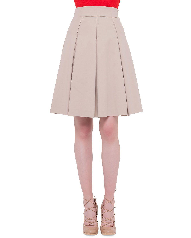 2d6e2143c95 Inverted-Pleat A-Line Skirt, Cord, Women's, Size: 10 - Akris punto