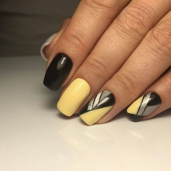 Nice yellow and black graphic, color blocking gel nails design by @_ ...
