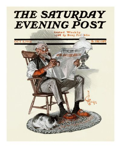 """The Saturday Evening Post"" magazine cover - October 3, 1914 (""War headlines"" by Joseph Christian Leyendecker)"