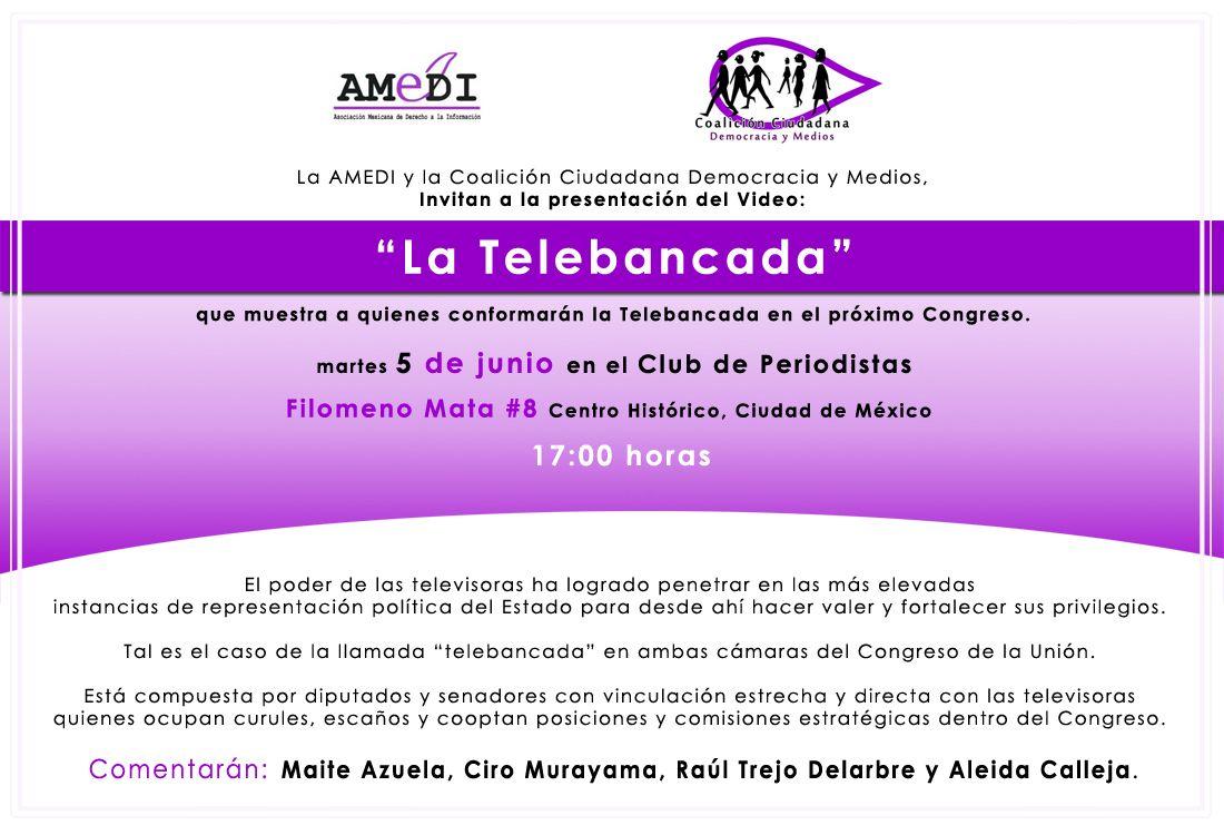 """Presentación del video, La """"telebancada"""" martes 5 junio"""