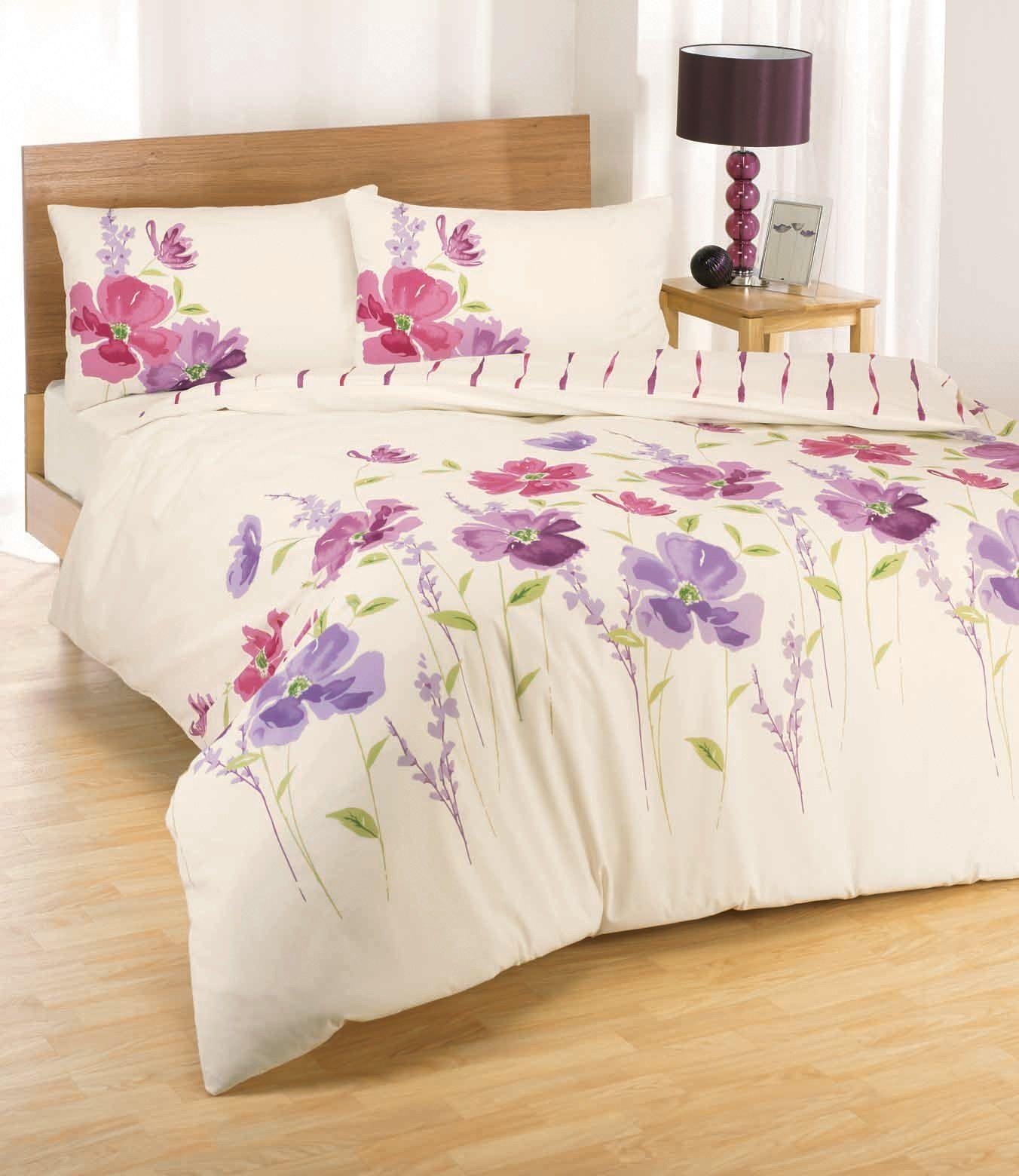 Eleanor Floral Pink Lilac Printed King Size Duvet Set