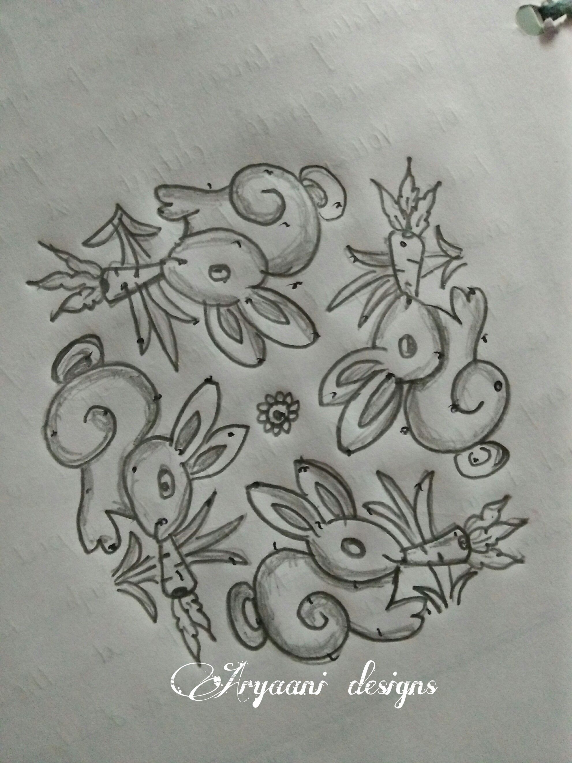 Pencil Sketch Rangoli Designs