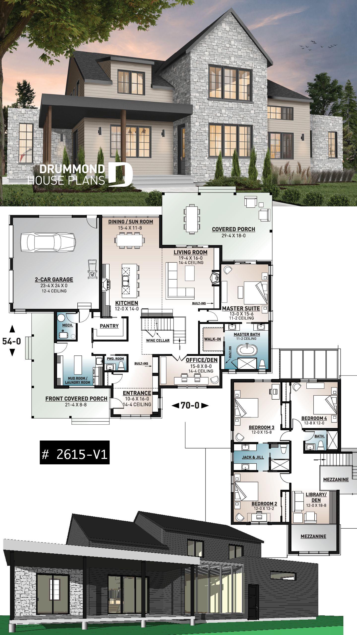 Modern farmhouse plan, 4 bedrooms, 3.5 baths, master suite