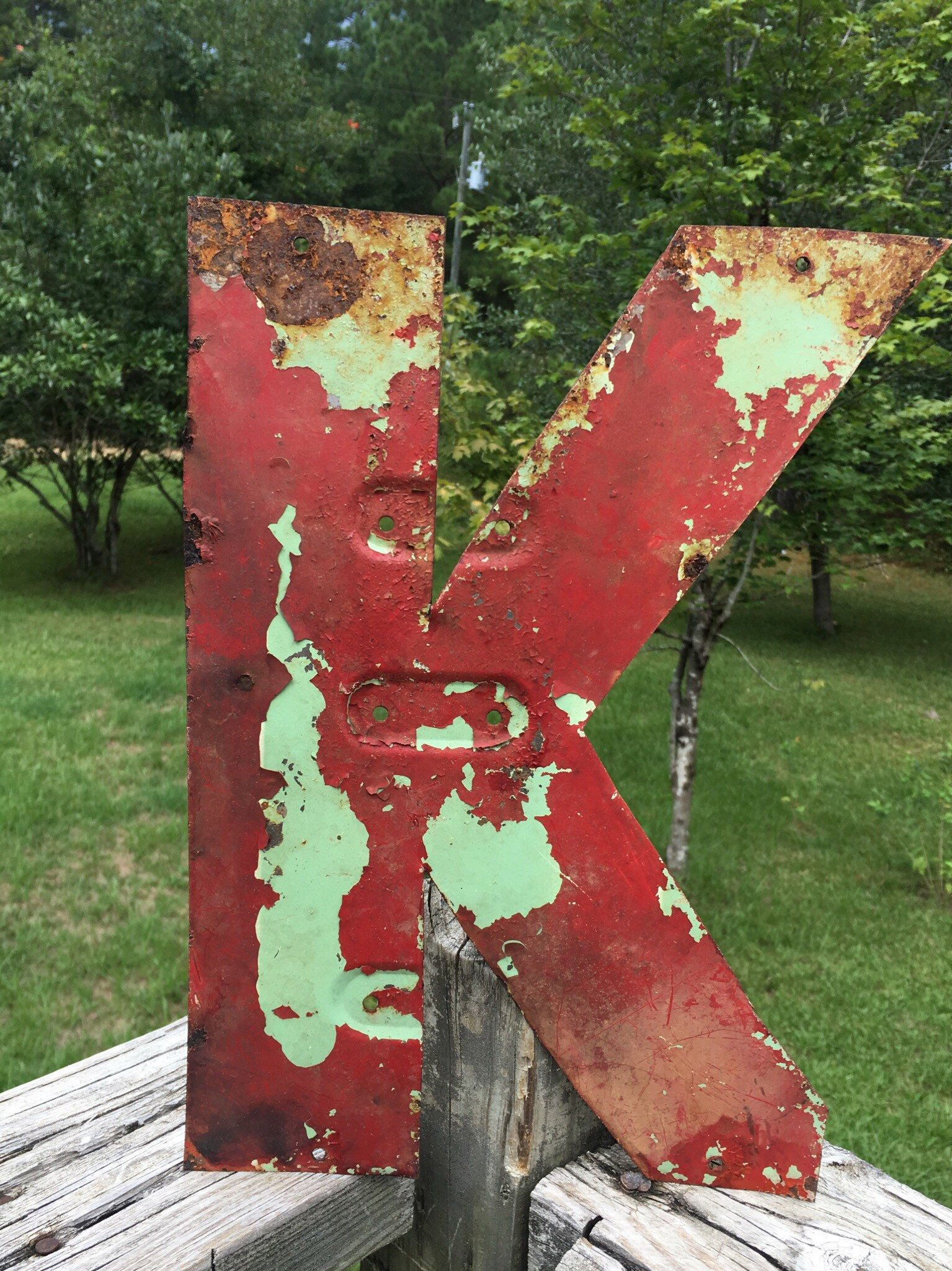 Metal Letter K Chippy Rusty Red Vintage Industrial Sign Letter Etsy Alphabet Wall Art Metal Letters Vintage Industrial Decor