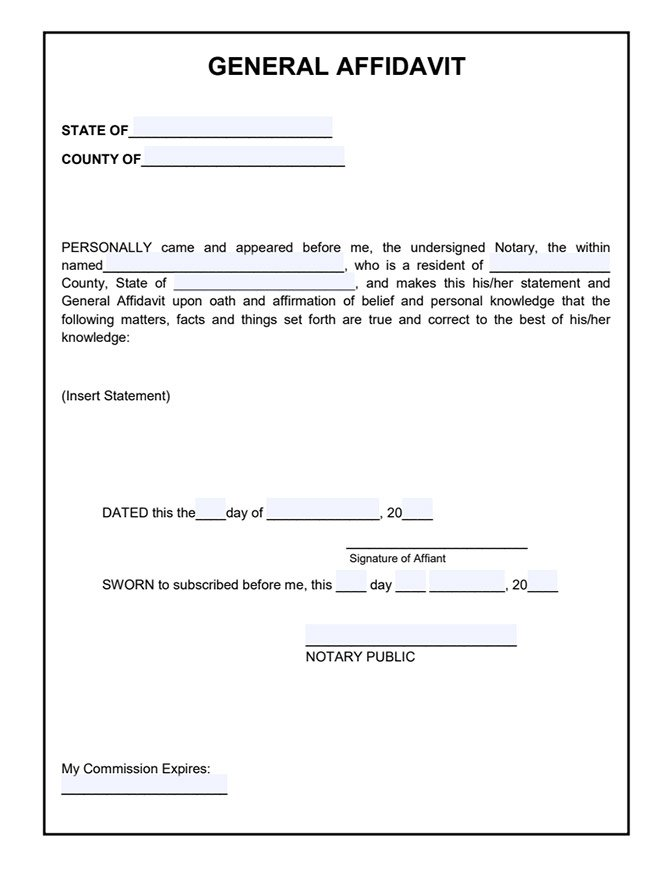 affidavit format sample Google Search Word template