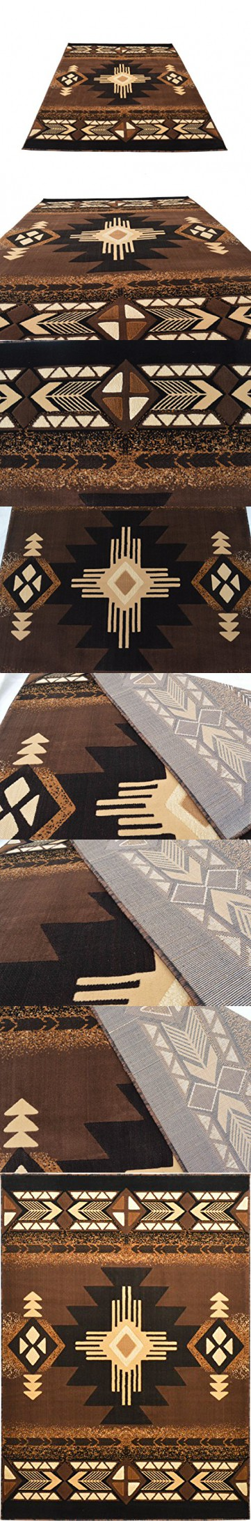 Rugs 4 Less Collection Southwest Native American Indian Area Rug Design R4L  318 Brown Chocolate (8u0027x10u0027)