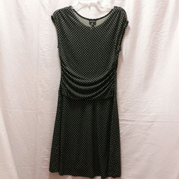 Nwot Classy Polka Dot Petite Dress A-line that gathers just on the tummy to hide that woman imperfection. Color is more like a beautiful dusty forest green. Never worn. Dresses Asymmetrical