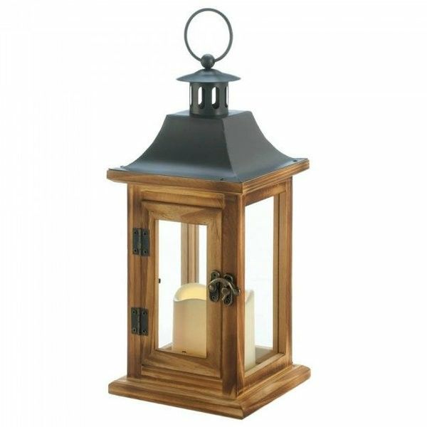 WOOD LED CANDLE LANTERN WITH CLASSIC METAL TOP 12 INCHES