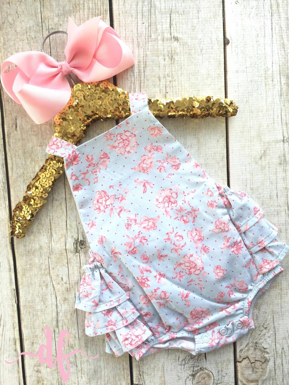 Blue Rose Sun Suit by Mud Pie, little girls, cute, romper, bubble, floral, baby girls by DashForward on Etsy