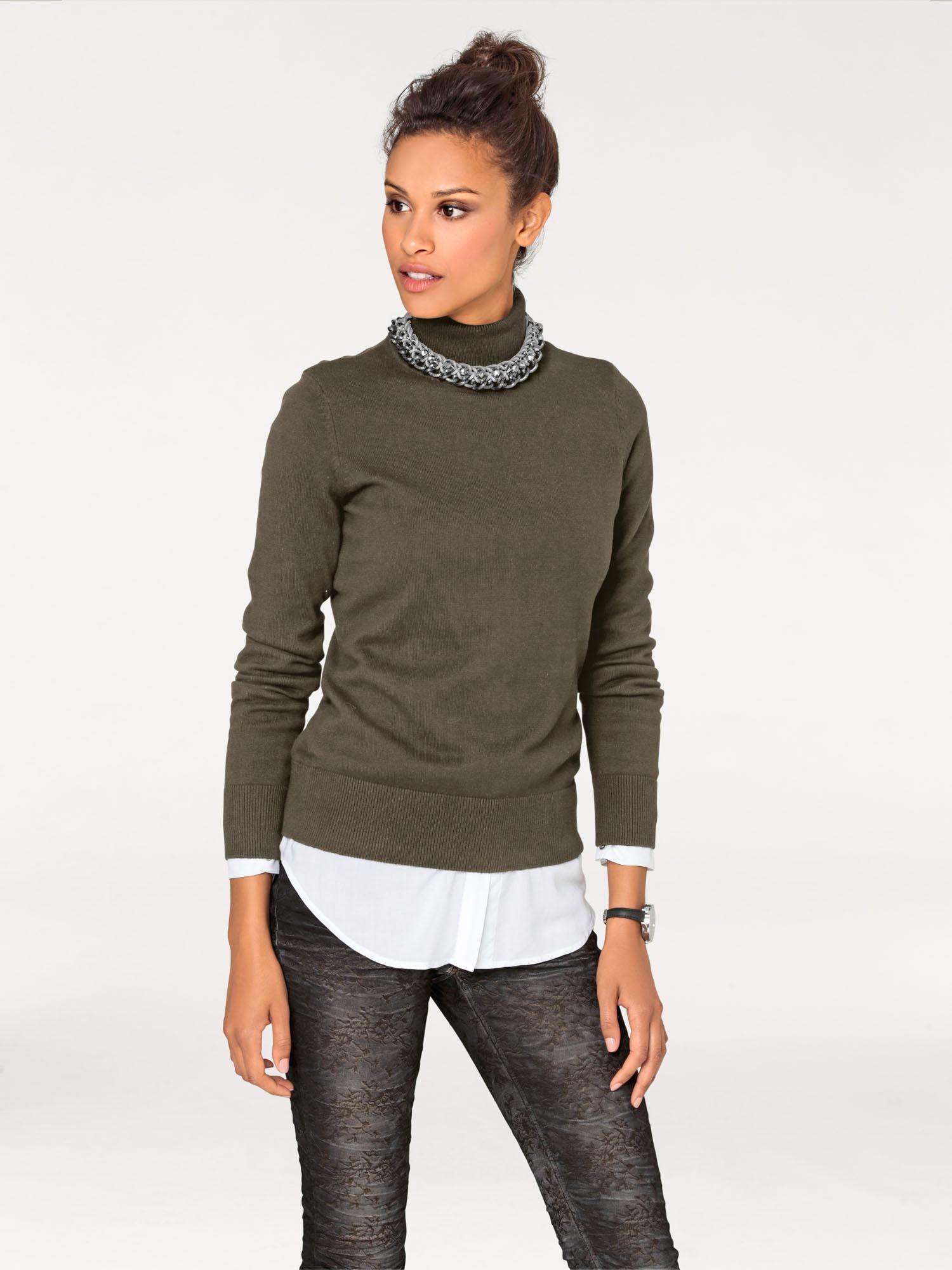heine Pullover in oliv | Rollkragenpullover, Mode und Pullover