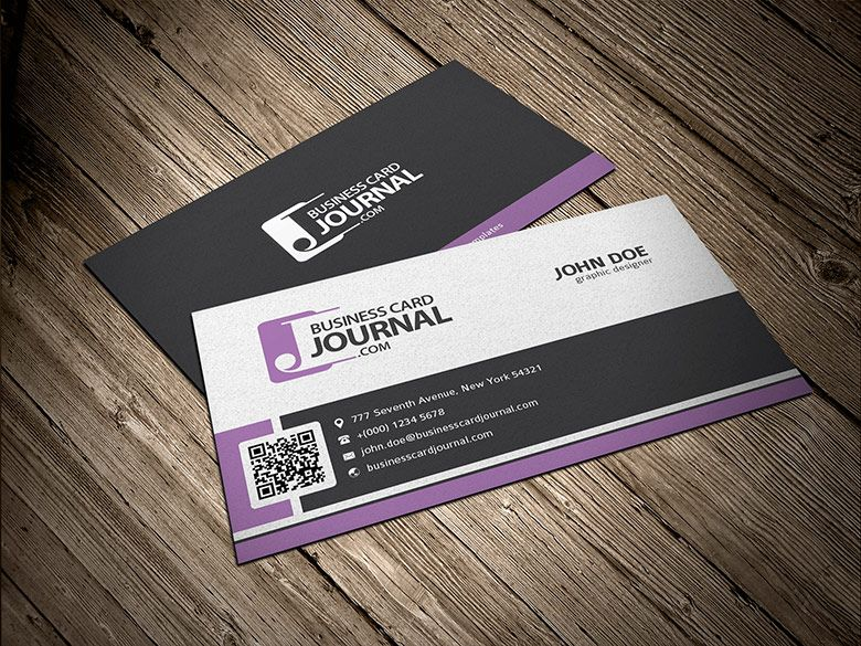 Free Stylish Corporate Business Card Template with QR Code     Free Stylish Corporate Business Card Template with QR Code      Business Card  Journal