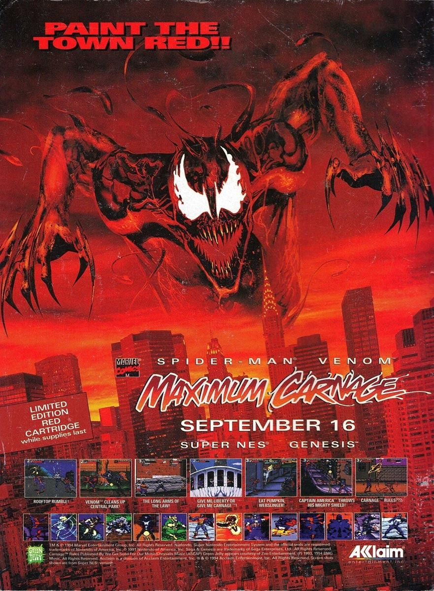 90s Video Game Ad For Maximum Carnage 1994 Bill Sienkiewicz