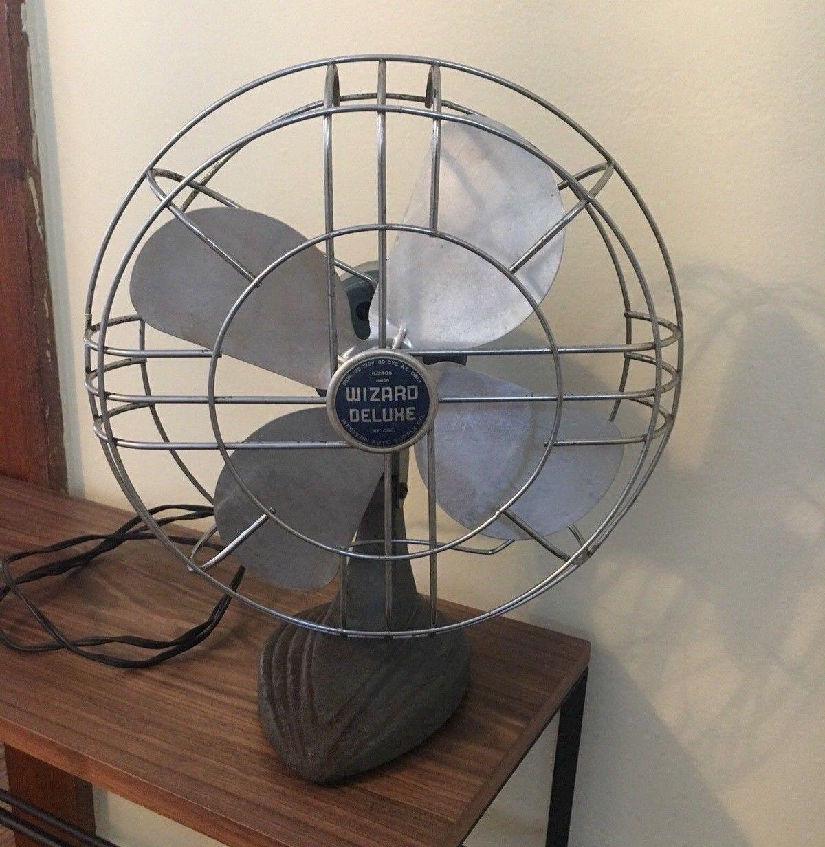 Vintage Electric Oscillating Fan 10 Wizard Deluxe Works Deco Oscillating Fans Fan Table Fan