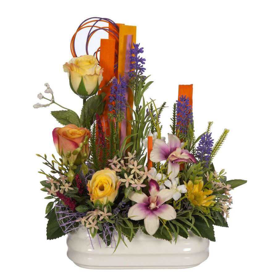 Jardinera Cerámica Flores Silvestres Y Rosas Artificiales