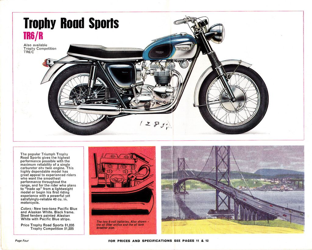 TRIUMPH TROPHY TR6 MOTORCYCLE METAL SIGN CLASSIC BIKES A3