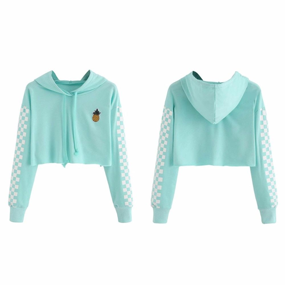 Free Shipping Womens Crop Tops Sweatshirt Pineapple Embroidery Gingham Plaid Hoodies Pullover Jkp1016 Crop Top Sweatshirt Sweatshirt Tops Crop Tops Women [ 1000 x 1000 Pixel ]