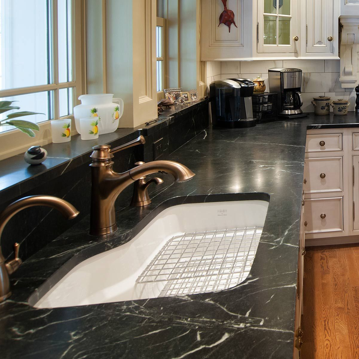furniture countertops with grey window kitchen cabinets bay and white soapstone