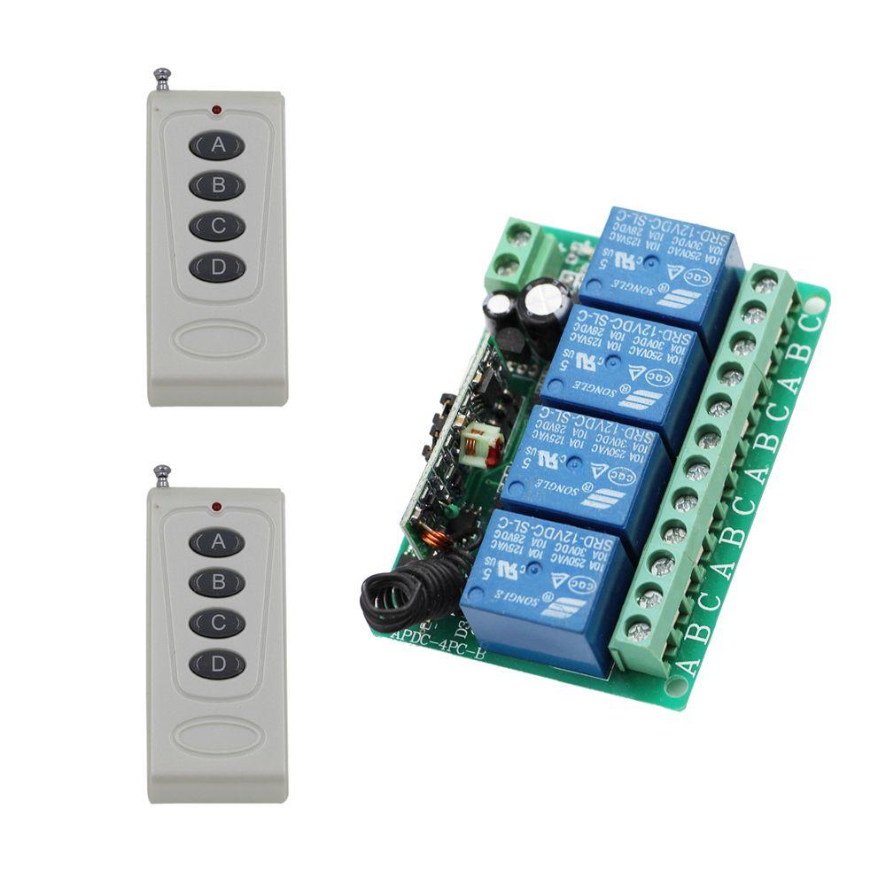 DC12V 10A 4CH Radio Controller RF Wireless Relay Remote Control