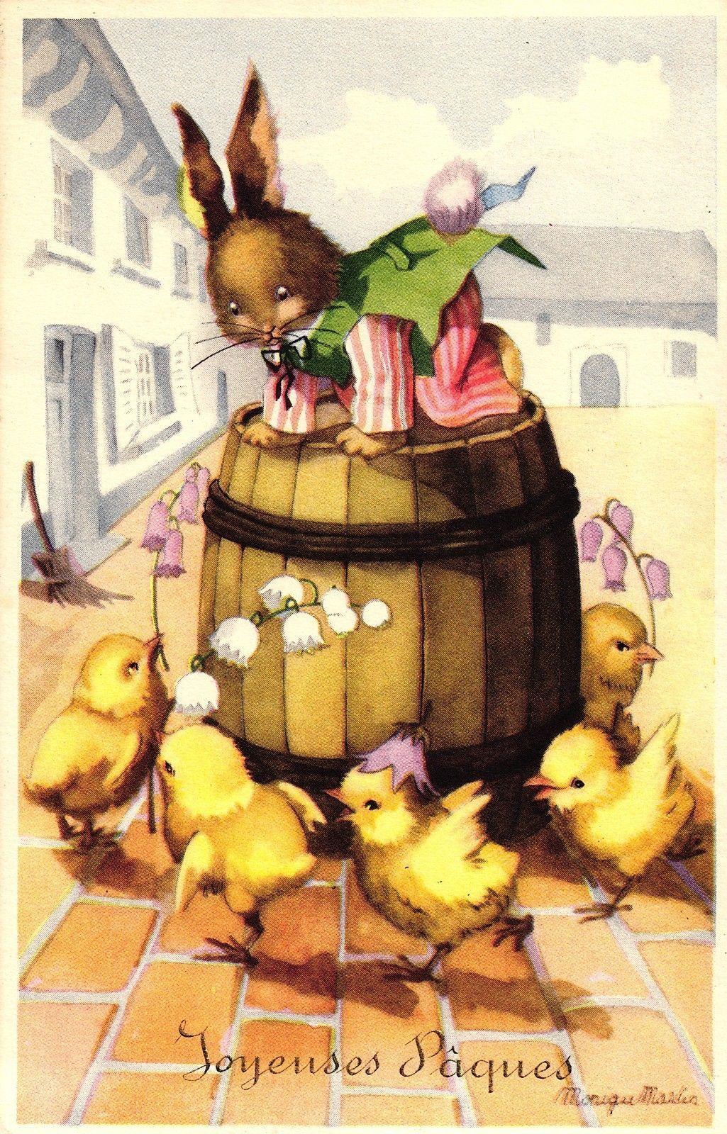Ostern, Hase, Küken, sign. Künstlerkare, ca. 50er Jahre   eBay