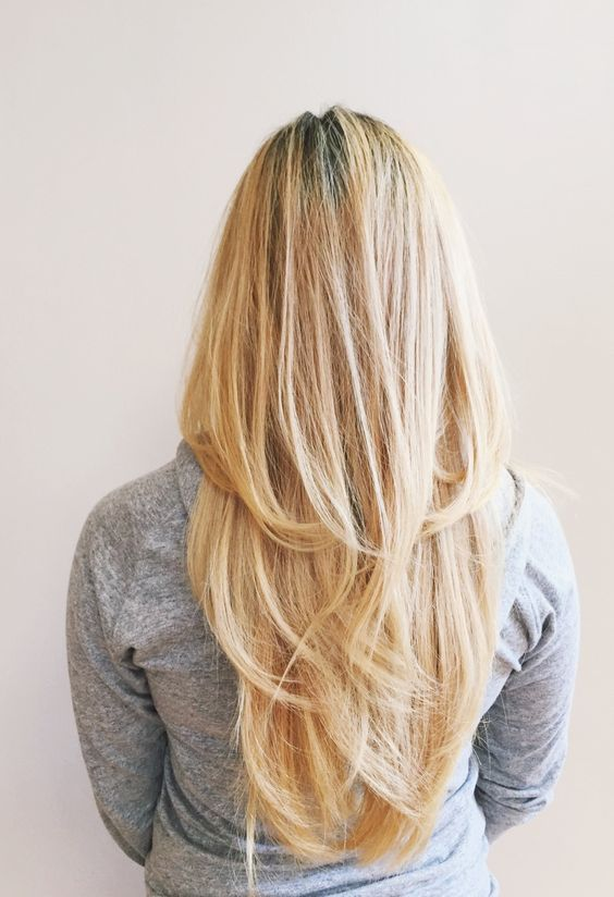 V shaped layered haircut back view