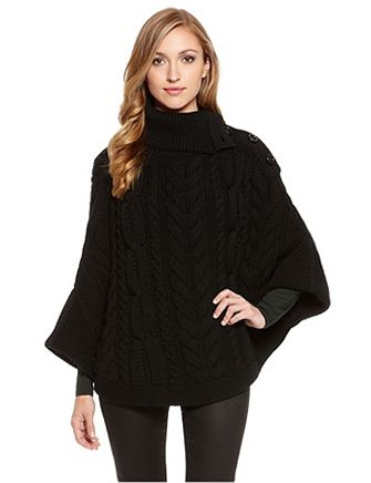 HUGO BY HUGO BOSS Virgin Wool Cable Knit Sweater Poncho