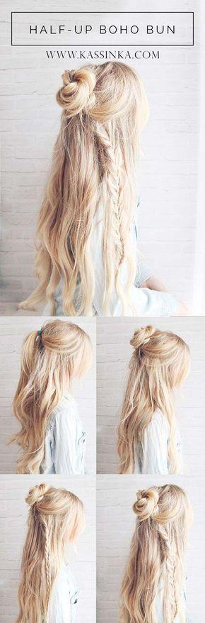 Beste Frisuren für langes Haar – Boho Braided Bun Hair – Schritt für Schritt … #Beste #Boho ...