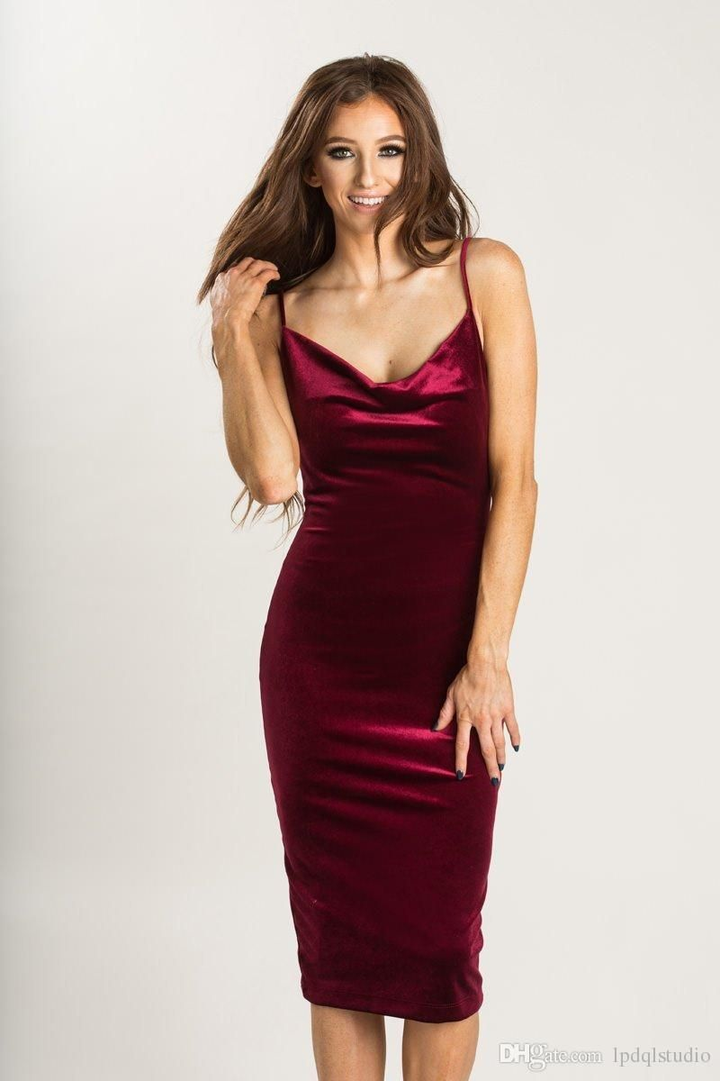 Sexy Burgundy Cocktail Dresses Velvet Summer Spaghetti Knee Length ...