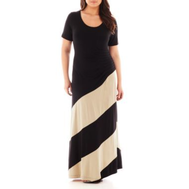 Trulli Short-Sleeve Colorblock Maxi Dress - Plus found at @JCPenney ...