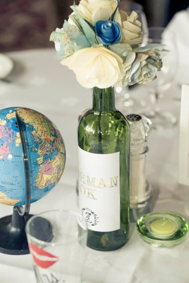 Wedding travel centerpiece travel table wine bottle for Wine themed centerpieces