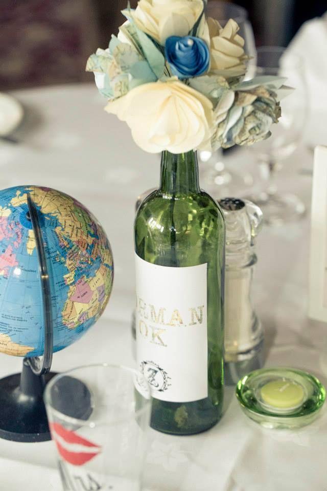 Wedding Travel Centerpiece Table Wine Bottle Globe Themed