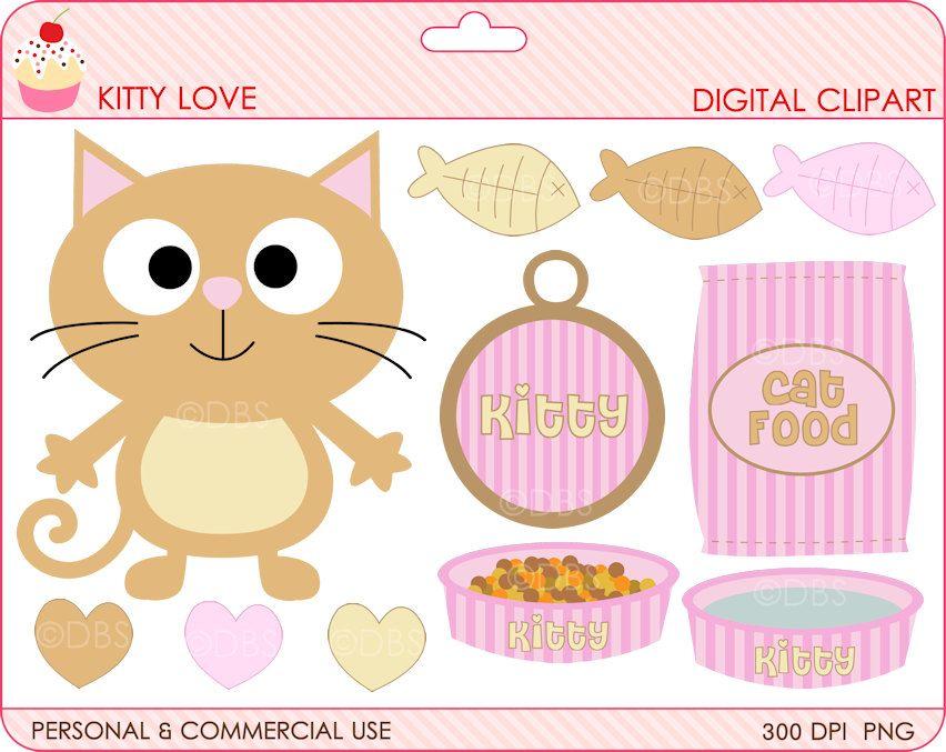 cat clipart digital clip art kitty kitten - BUY 2 GET 2 FREE - Kitty Love Digital Clipart. $4.95, via Etsy.