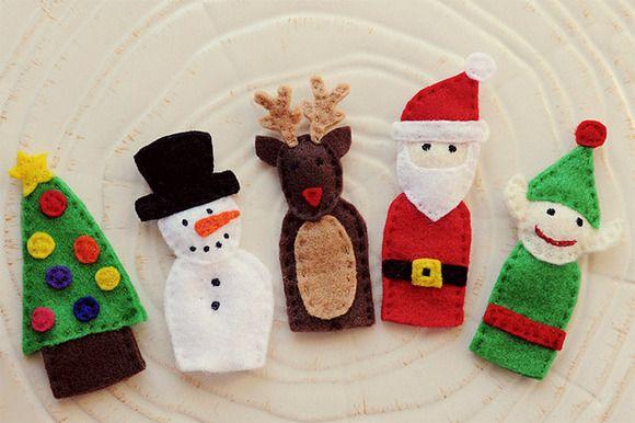 Marionetas para dedos con motivos navideños - Recicla los trozos de