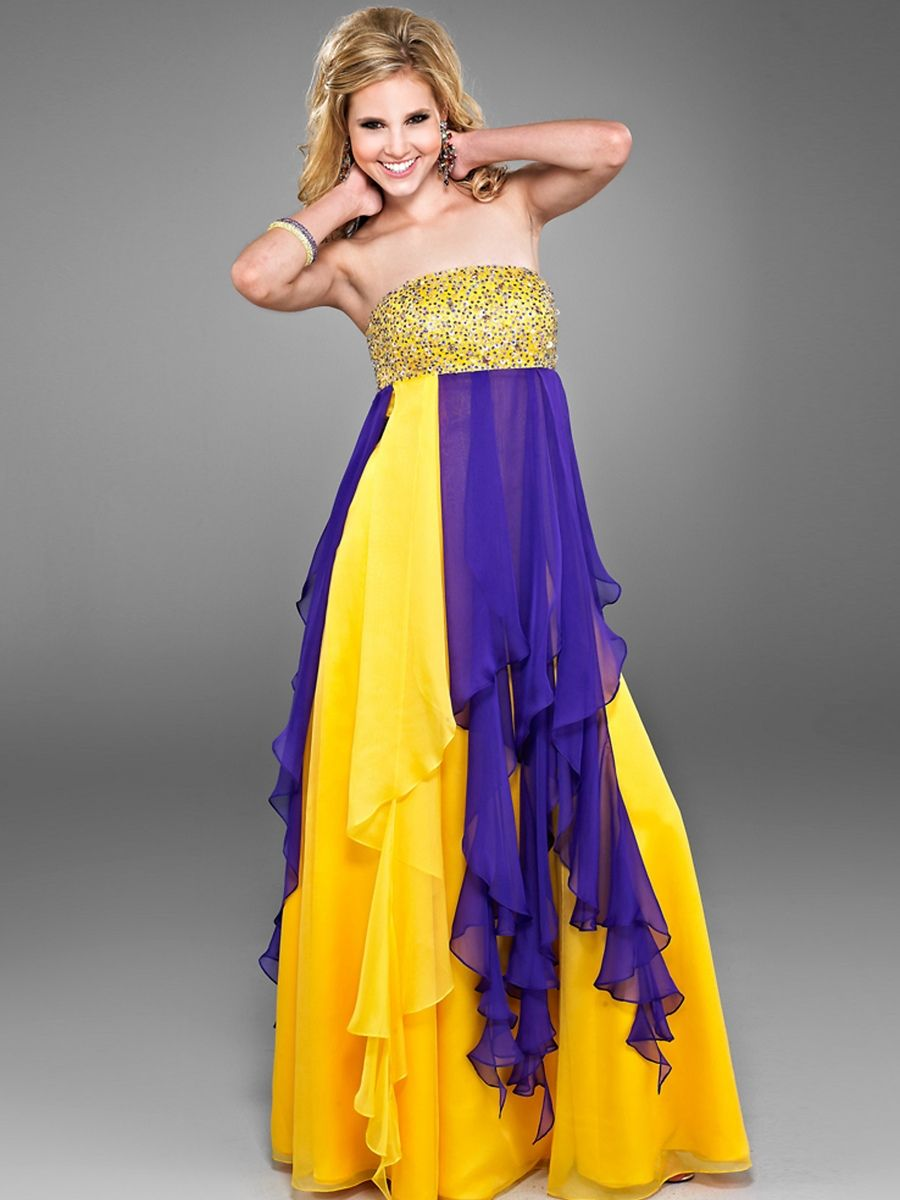 Vintage strapless aline style sequined embellishment yellow chiffon
