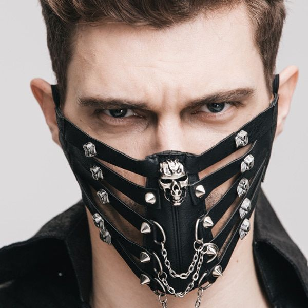 Punk Faux Leather Costume Spike Studded Zipper Opening Mouth Mask Accessory