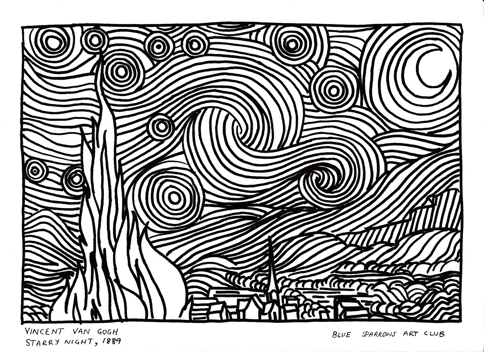 Van Gogh Starry Night Coloring Page Vincent 1889 Colouring